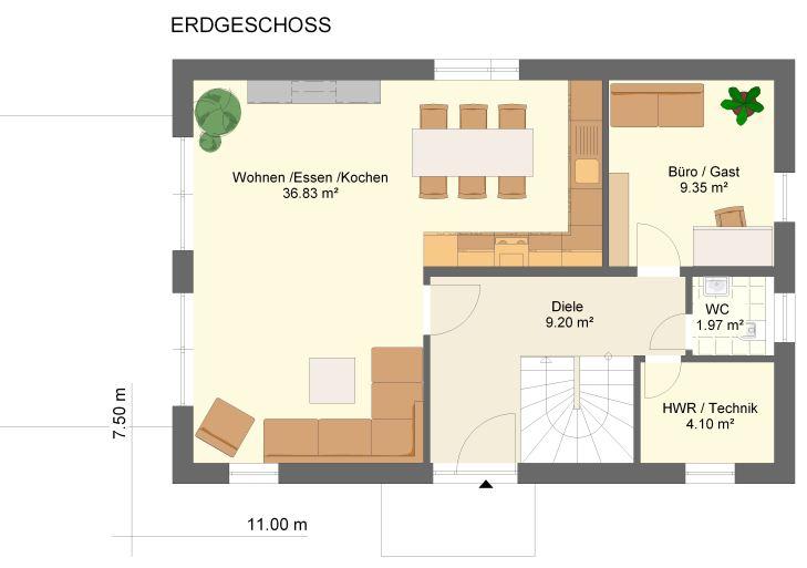 Grundriss einfamilienhaus erdgeschoss  Grundriss 5 Zimmer Einfamilienhaus ~ Innenraum und Möbel