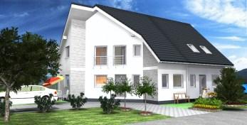 Fence house design doppelhaush lfte fertighaus for Badeinrichtungen beispiele